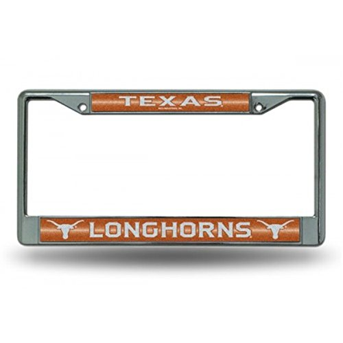Metal Plate Longhorns Texas License - NCAA Texas Longhorns Bling Chrome License Plate Frame with Glitter Accent