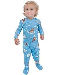 Cotton Jersey Long-Sleeve Gingerbread Fun Pajamas, Blue