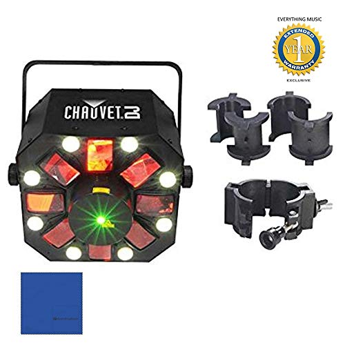Chauvet DJ Swarm 5 FX LED Lighting Effects Fixture with CLP-10 Truss Clamp Bundle with Microfiber and 1 Year Everything Music Extended Warranty (Led Fx Pak)