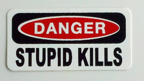"Price comparison product image 3 – Danger Stupid Kills Hard Hat / Helmet Stickers 1"" x 2"""