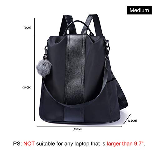 Black theft Purse Waterproof Bag Women Lightweight Shoulder School Nylon Anti Backpack Rucksack PXRwRH