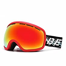 IceHacker Eyewear Ski and Snowmobile Anti-fog Mirrored Goggle with Ergonomics Design and Helmet Compatible
