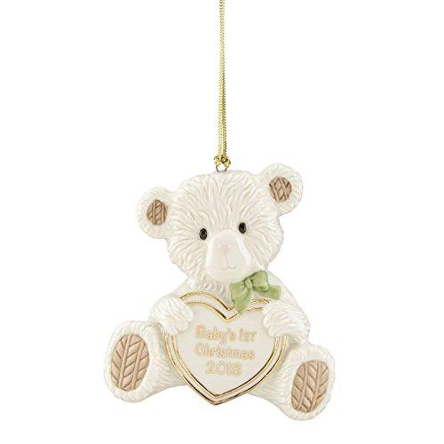 Lenox 2018 Baby's 1st Christmas Teddy Bear (Babys First Christmas Bear Ornament)