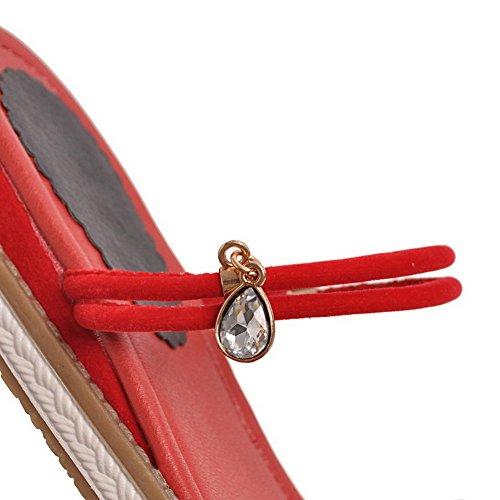 Punta Sandali Tirare Aperta Basso Plastica AgooLar Rosso Tacco Puro Donna 4BwSqB