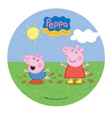 DECORACIÓN PARA TARTA PARA~PEPPA PIG 20,5 cm COMESTIBLE ...
