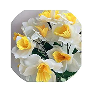 Artificial Flowers 2Pcs Artificial Narcissus Simulation Daffodils Seven Stems Per Bush White/Yellow for Wedding Party Home Decorative Flowers,White 94