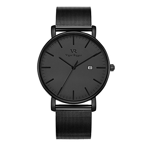 Vigor Rigger Unisex Ultra Thin Unique Men Quartz Watch Black Analog Dial with Date Display Metal Case Milanese Mesh Band (black)