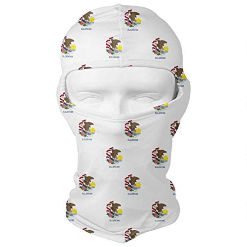 WD&rain Illinois State Flag Pattern Balaclava Face Mask Headwear Helmet Liner Gear Full Face Mask Hood Motorcycle Mask