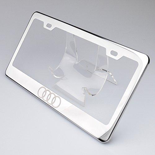 Audi License Plate Frame - 100% Stainless Steel Audi Logo Laser Engrave Chrome Mirror Polish License Plate Frame Holder with Logo Steel Screw Caps