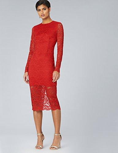 Encaje amp; Mujer Rojo Vestido Midi Truth Ajustado De red Fable HcTd0