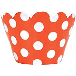 Just Artifacts Decorative Cupcake Paper Wrapper Muffin Holder - (40pc) Color: Orange w/White Polka Dots - Decorations for Birthday Parties, Baby Showers, Weddings and Life Celebrations!