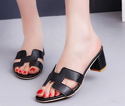 Mit Freizeitschuhe im Sommer mit Frau rohe Sandalen Frauen Sandalen und Pantoffeln Black