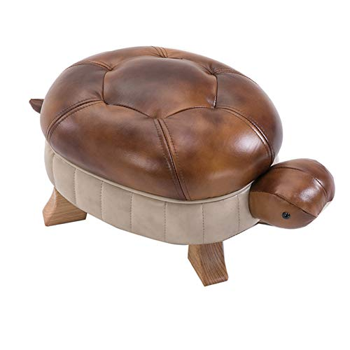 HM&DX Leather Foot Stool Animal Turtle, Upholstered Small Ottoman Footrest Wood Legs Shoe Change Stool Sofa Stool Home Decoration-Yellow Cowhide S ()
