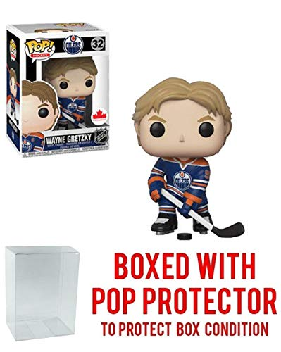 (POP! Sports NHL Legends Wayne Gretzky Edmonton Oilers Canada Exclusive Action Figure (Bundled with Pop Box Protector to Protect Display Box))