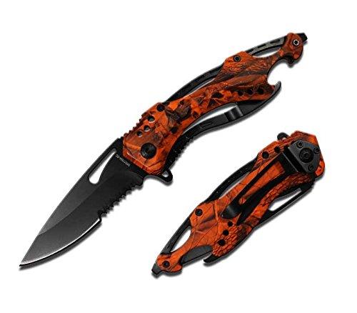 Rogue-River-Tactical-Blaze-Orange-Camo-Police-Style-Rescue-Folding-Pocket-Knife-Multi-Function-Spring-Assisted-Opening-Glass-Breaker-Bottle-Opener-Belt-Clip-Hunting