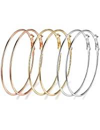 3 Pairs Big Hoop Earrings 18K Gold Plated Rose Gold Plated Silver for Womens Girls (3 Color 60mm Set)