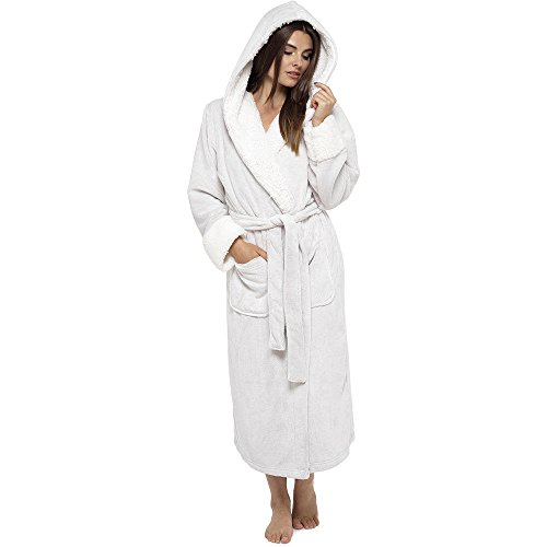 96f25fd5cc Ladies Sherpa Lined Hooded Shimmer Soft Coral Fleece Gowns Robes Wraps  LN526. by wolf   harte