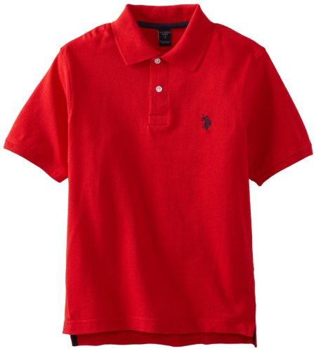 U.S. Polo Assn. Little Boys' Toddler Short Sleeve Pique Polo Shirt, Engine Red, 3T