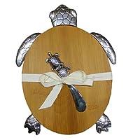 "Hampton Nautical Y-67450 Turtle Bamboo Cutting Board with Spreader 11"" - Sea Turtle Decor - Sea Life Home Decoration"