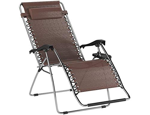 XtremepowerUS Adjustable Reclining Lounge Chairs with Cup Holder, Brown, Set of 2