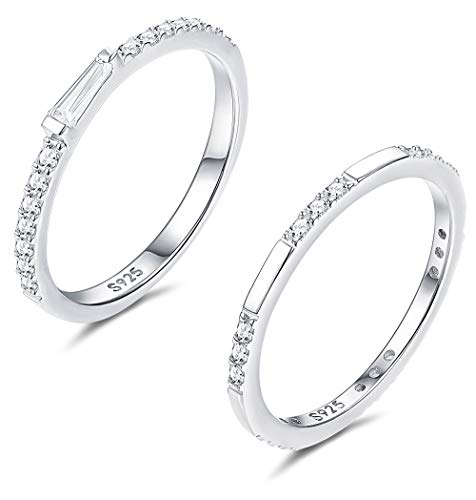 FUNRUN JEWELRY 2 PCS Sterling Silver Cubic Zirconia Thin Ring Set for Women Girls Cute CZ Stackable Knuckle Ring Women Wedding Jewelry Size 4-9 (8)