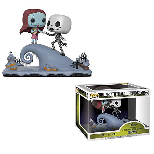 Funko Jack Skellington & Sally Under The Moonlight: The Nightmares Before Christmas x POP! Movie Moments Vinyl Figure + 1 Classic Disney Trading Card Bundle [#458 / 32834] ()