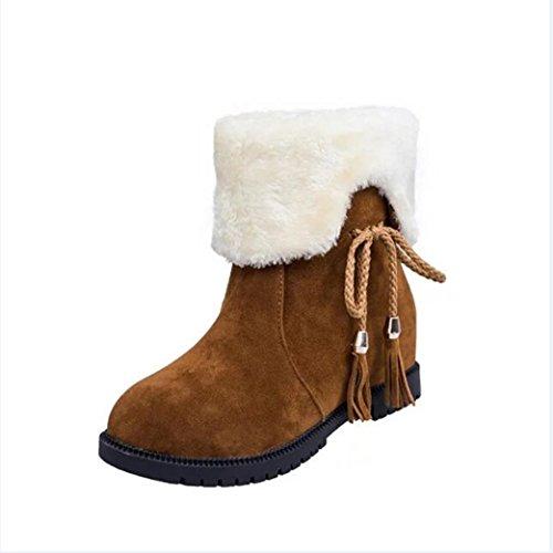 ホットセール、aimtoppy秋冬ブーツ雪ブーツ冬アンクルブーツレディース靴ヒールファッション靴 US:6 レッド AIMTOPPY