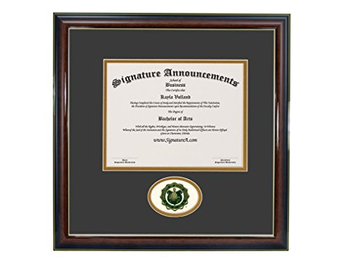 Signature Announcements University of North Dakota (UND) Undergraduate and Graduate Graduation Diploma Frame with Sculpted Foil Seal (Gloss Mahogany w/Gold Accent, 16 x 16)