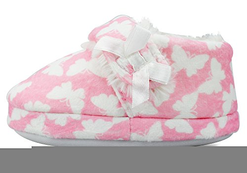 LA PLAGE Girl's Plush Fleece Warm Soft Cotton Slippers with Beautiful Butterfly Size 8 US Toddler Butterfly by LA PLAGE (Image #3)