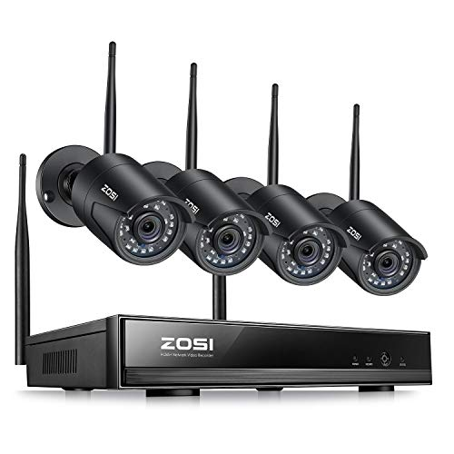 ZOSI 1080P Wireless Security Cameras System Outdoor Indoor with Night Vision, H.265+ 8CH Network Video Recorder (NVR) with 4 x 2MP Auto Match Weatherproof IP Cameras,No Hard Drive Included