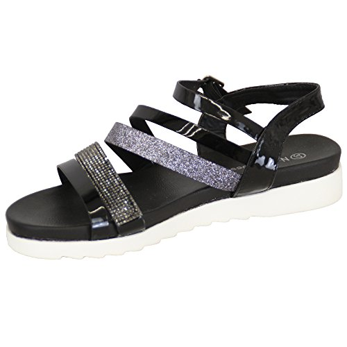 Ladies Gladiator Black Sandals Open Womens PM1032 New Diamante Shoes NaNa Toe Flat Buckle Glitter afAnUadx