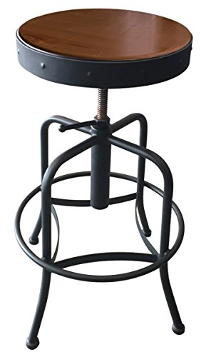Holland Bar Stool Industrial Adjustable Screw Stool with Black Wrinkle Finish & Distressed Wood Seat, Medium - Adjustable Catalina Chair