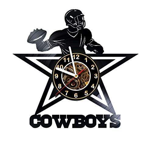 Dallas Cowboys – Football Team – Vinyl Record Wall Clock Artwork gift idea for birthday, christmas, women, men, friends, girlfriend boyfriend and teens – living kids room nursery – Best gift idea
