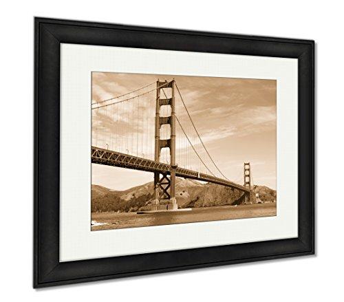 Ashley Framed Prints Golden Gate Bridge, Wall Art Home Decoration, Sepia, 26x30 (frame size), Black Frame, - California Hills Puente
