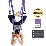 TEC Aerial Yoga Swing – Ultra Strong Trapeze for Inversion Stretches & Exercises; Increases Strength, Flexibility, and Relieves Back Pain; Includes Durable Ropes, Carabiner Clips + Bonus Set Up Guide