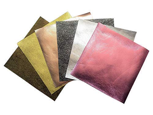Genuine Leather Scraps for Earrings- 6 Metallic Sheets of Leather for Crafts Including Rose Gold Leather Piece, Each 6x6 Inches Large