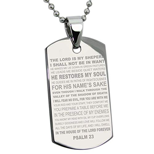 - Stainless Steel Silver Gold Black Rose Gold Plated Psalm 23 Bible Verse Pendant Dog Tags Men Women Necklace 24'' Ball Chains