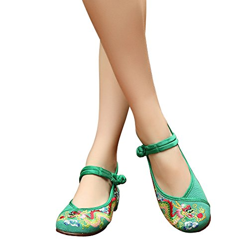 Kvinnor Porslin Traditionella Drake Broderad Cheongsam Klänning Flats Shoes Green