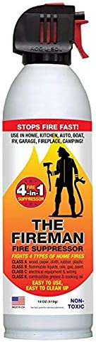 The Fireman – Multi Purpose Fire Extinguishing Suppressant Spray – Fights All 4 Common Fires Wood, Gasoline, Electrical Equipment and Grease Fat Fires Class A,B,C K – 18 oz. 8 Pack