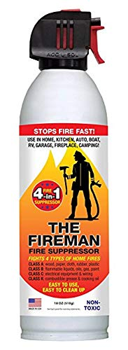 The Fireman - Multi Purpose Fire Extinguishing Suppressant Spray - Fights All 4 Common Fires: Wood, Gasoline, Electrical Equipment and Grease/Fat Fires (Class A,B,C & K) - 18 oz. (8 Pack) ()