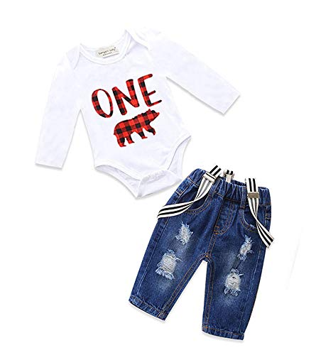 Toddler Baby Boy Clothes Set Bowtie Romper Suspenders Ripped Denim Pants Outfits (One Bear-Long, 90/Fit 12-18 Months)