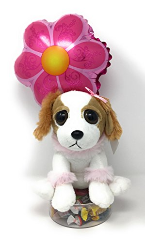 KelliLoon Bright Eyes Pooches Get Well Bouquet #2006 with Plush Puppy, Balloon and Variety Mix Candy (Get Well Bouquets)