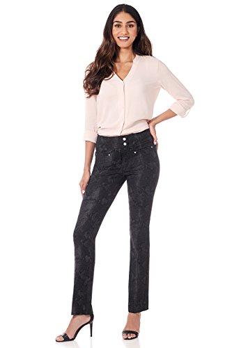 Rekucci Women's Secret Figure Pull-On Knit Straight Pant w/Tummy Control (6,Black/Smoke Snake)