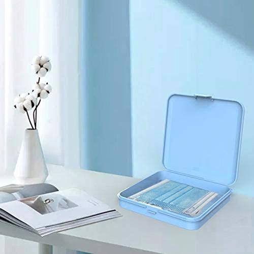 Plastic Storage Case Organizer Reusable Keeper Folder for Mouth Cover, Portable Face Cover Storage Clip Dustproof Storage Boxes Containers with Lids for Pollution Prevention Blue