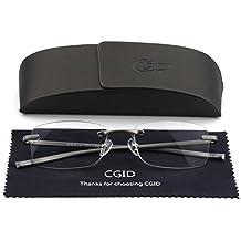 Unisex Lightweight Rimless Frameless Rectangle Reading Glasses Mens Womens Spring Hinge Fashion Readers Reading Glasses +2.75