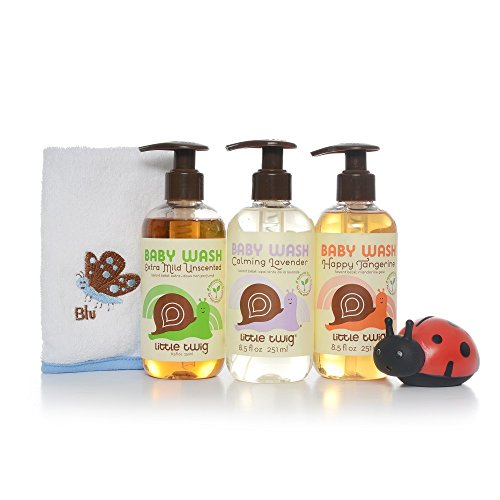 (Little Twig All Natural Baby Wash Essentials Gift Set with Pack of 3 Baby Wash Bottles, Soft Washcloth, Tub Toy Unscented/Lavender/Tangerine, 2.18 Pound)