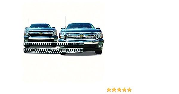 New Front Grille For 2007-2013 Chevrolet Pickup Chevy Silverado And 2009-2013 Chevrolet Pickup Chevy Silverado Hybrid For 1500//Hybrid Models Chrome Finish GM1200572