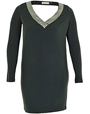 Calvin Klein Womens Long Sleeve Jersey Dress with Sequin