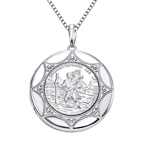 YL Jewelry 925 Sterling Sliver St Christopher Necklace Round Locket Protector Talisman Pendant for Women, 18