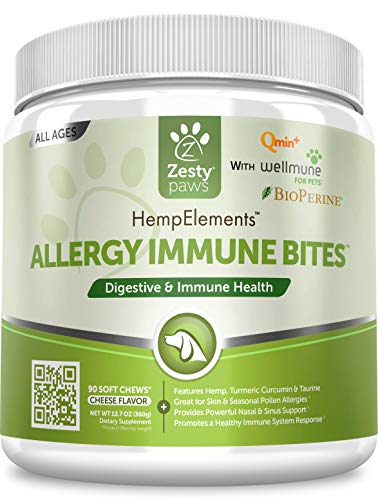 Allergy Immune Supplement with Hemp for Dogs – For Skin & Sinus + Seasonal Pollen Dog Allergies – With Cod Liver Fish Oil, Curcumin, BioPerine, Vitamin C & Quercetin – Omega 3 & 6 Support – 90 Soft Ch